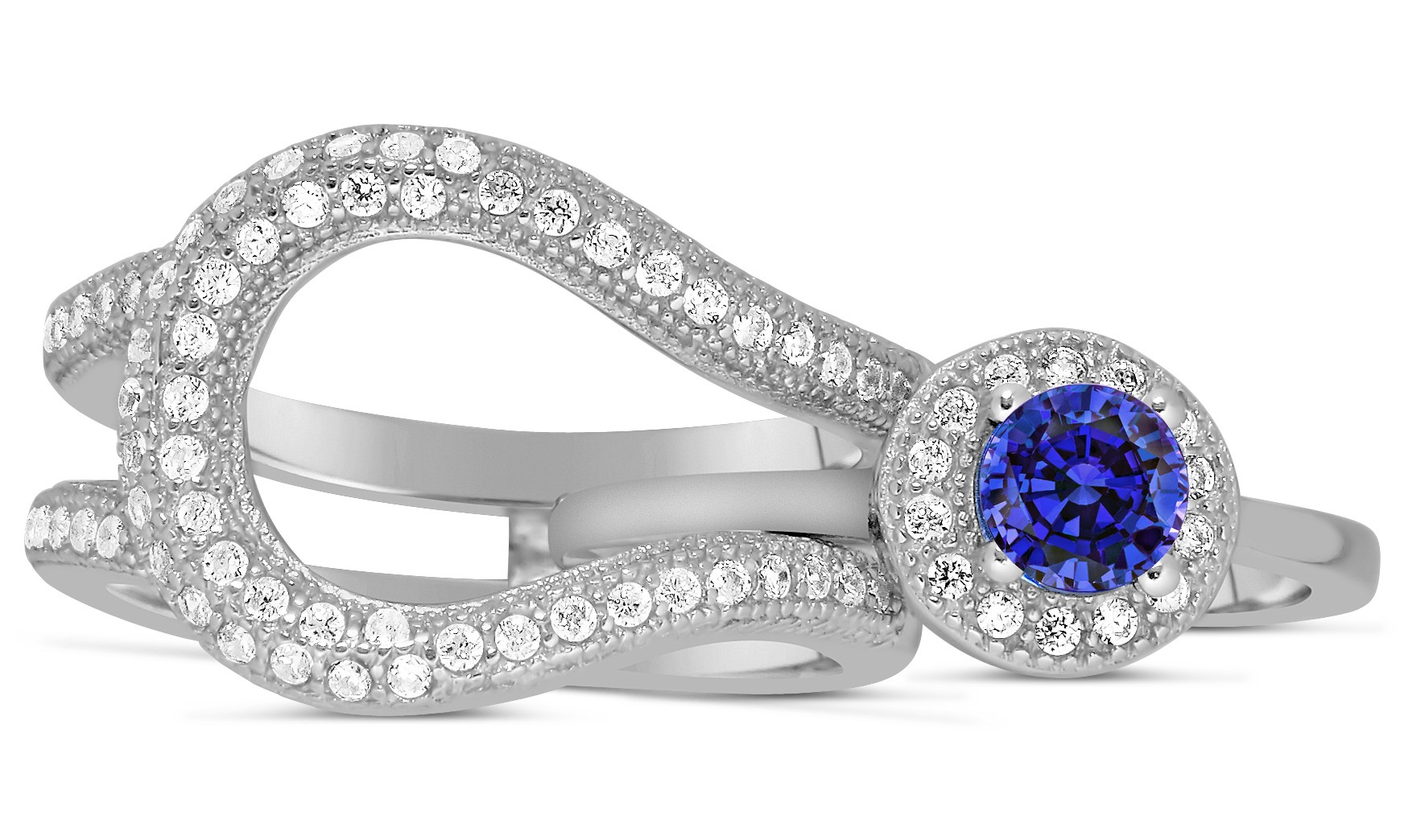 Unique and luxurious 2 carat designer sapphire and for Wedding ring sets white gold