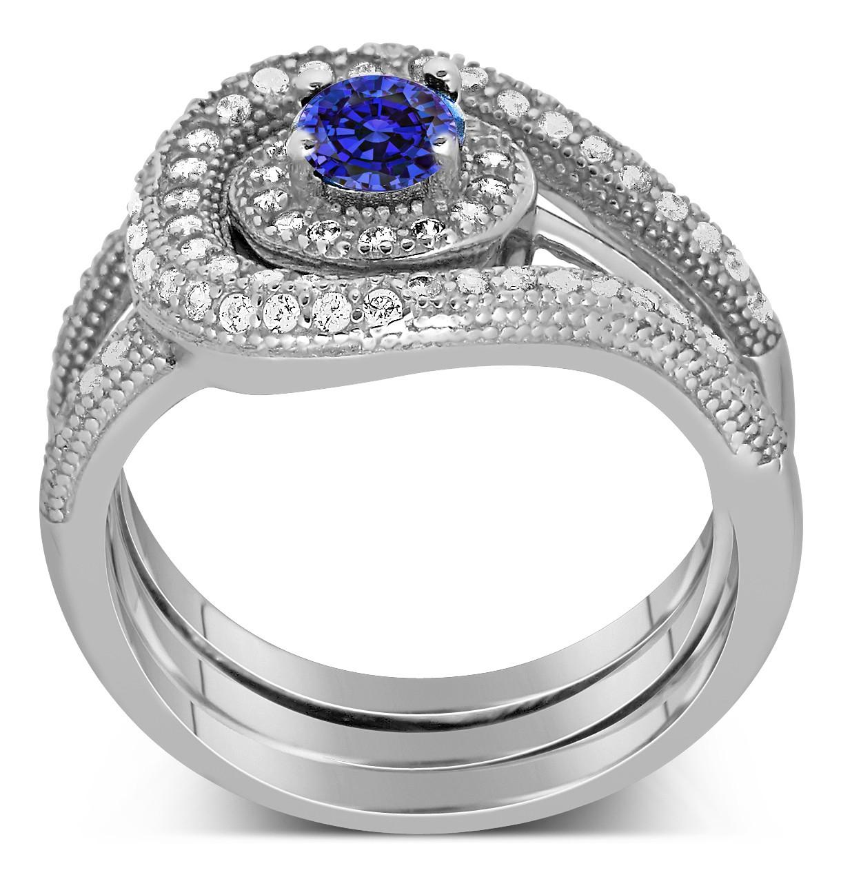 unique and luxurious, 2 carat designer sapphire and diamond
