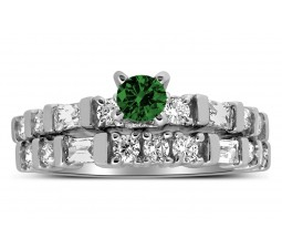Romantic 1 Carat Emerald and Diamond Wedding Ring Set in White Gold