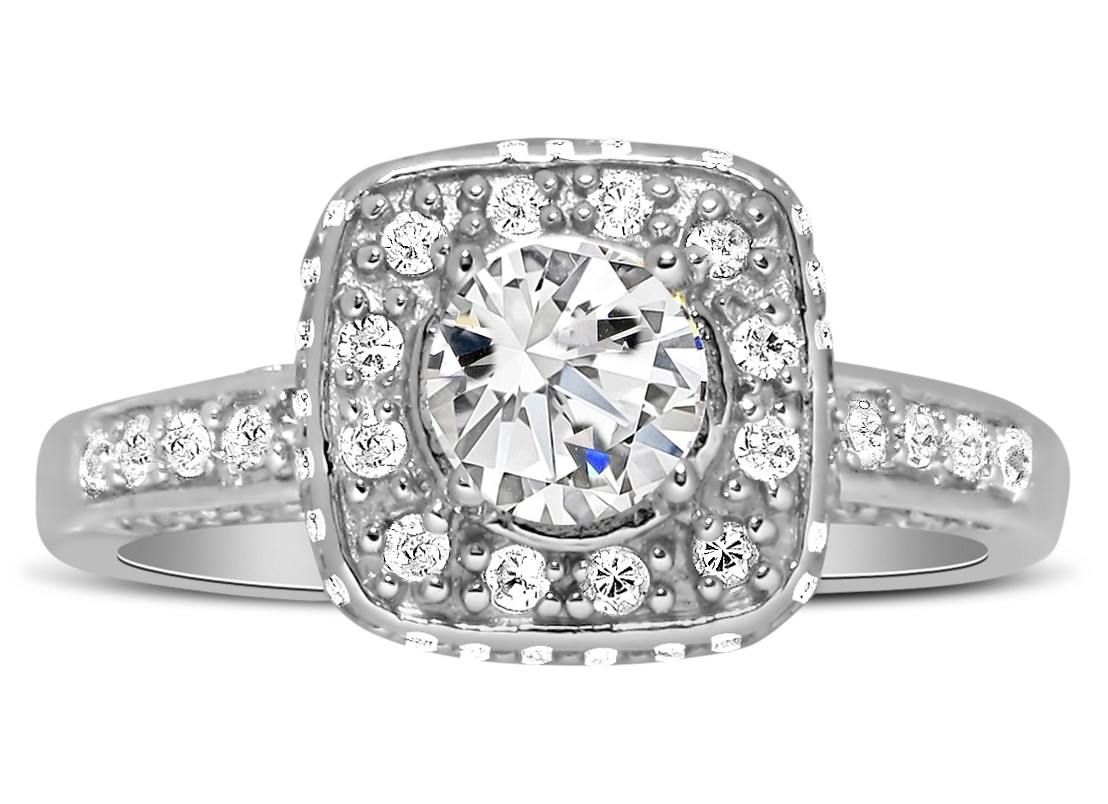Unique 1 Carat Round Halo Diamond Engagement Ring in White ...