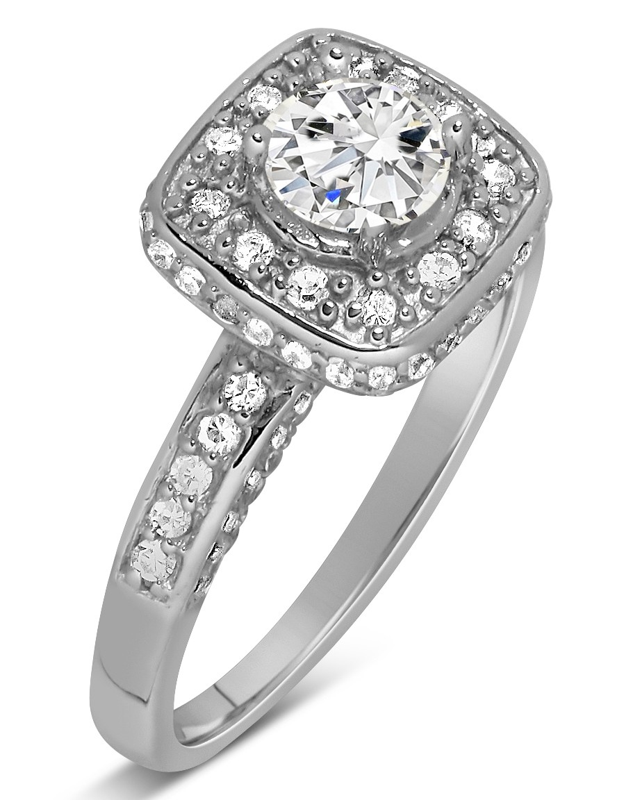 unique 1 carat round halo diamond engagement ring in white. Black Bedroom Furniture Sets. Home Design Ideas