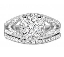 Designer 2 carat Round diamond Wedding Ring Set in White Gold