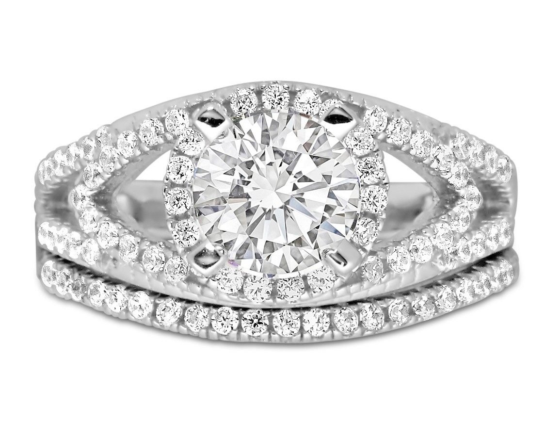 Designer 2 Carat Round Diamond Wedding Ring Set In White Gold