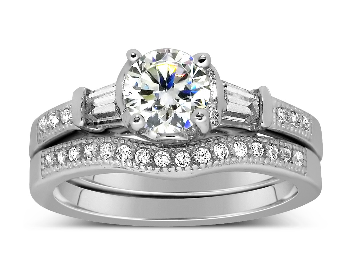 antique 1 carat round diamond wedding ring set for her in white gold - Vintage Wedding Ring Set