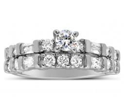 1 carat Round and Princess diamond Antique Bridal Ring Set in White Gold