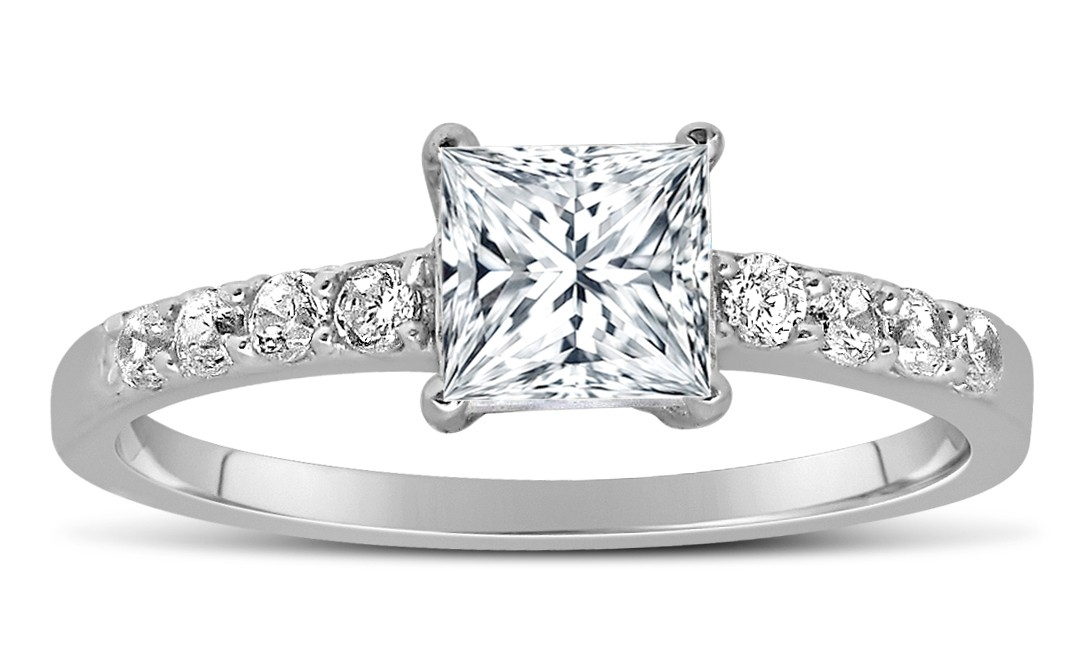 4f57f50fd 1 Carat Princess cut Diamond Engagement Ring in 14k White Gold ...