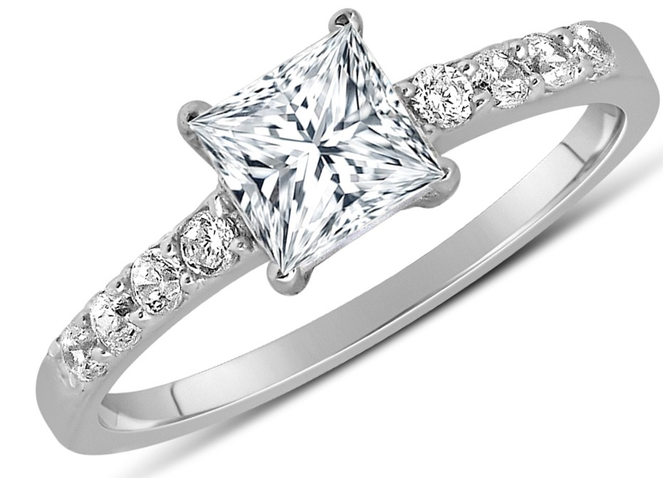 1 carat princess cut engagement ring in 10k white