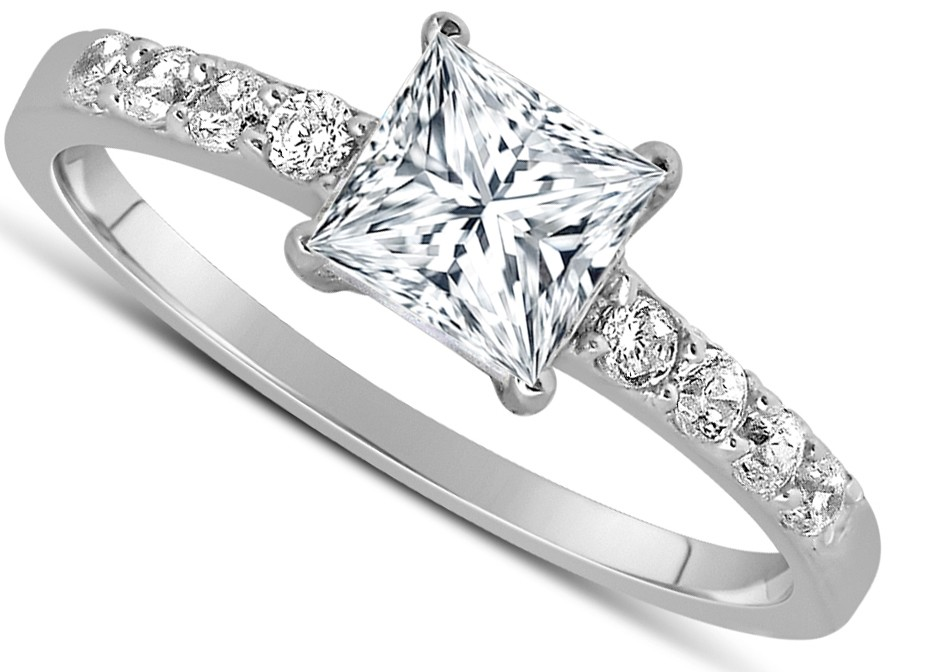1 Carat Princess cut Diamond Engagement Ring in 10K White Gold JeenJewels