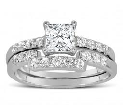 1 Carat Princess cut Diamond Wedding Ring Set in White Gold