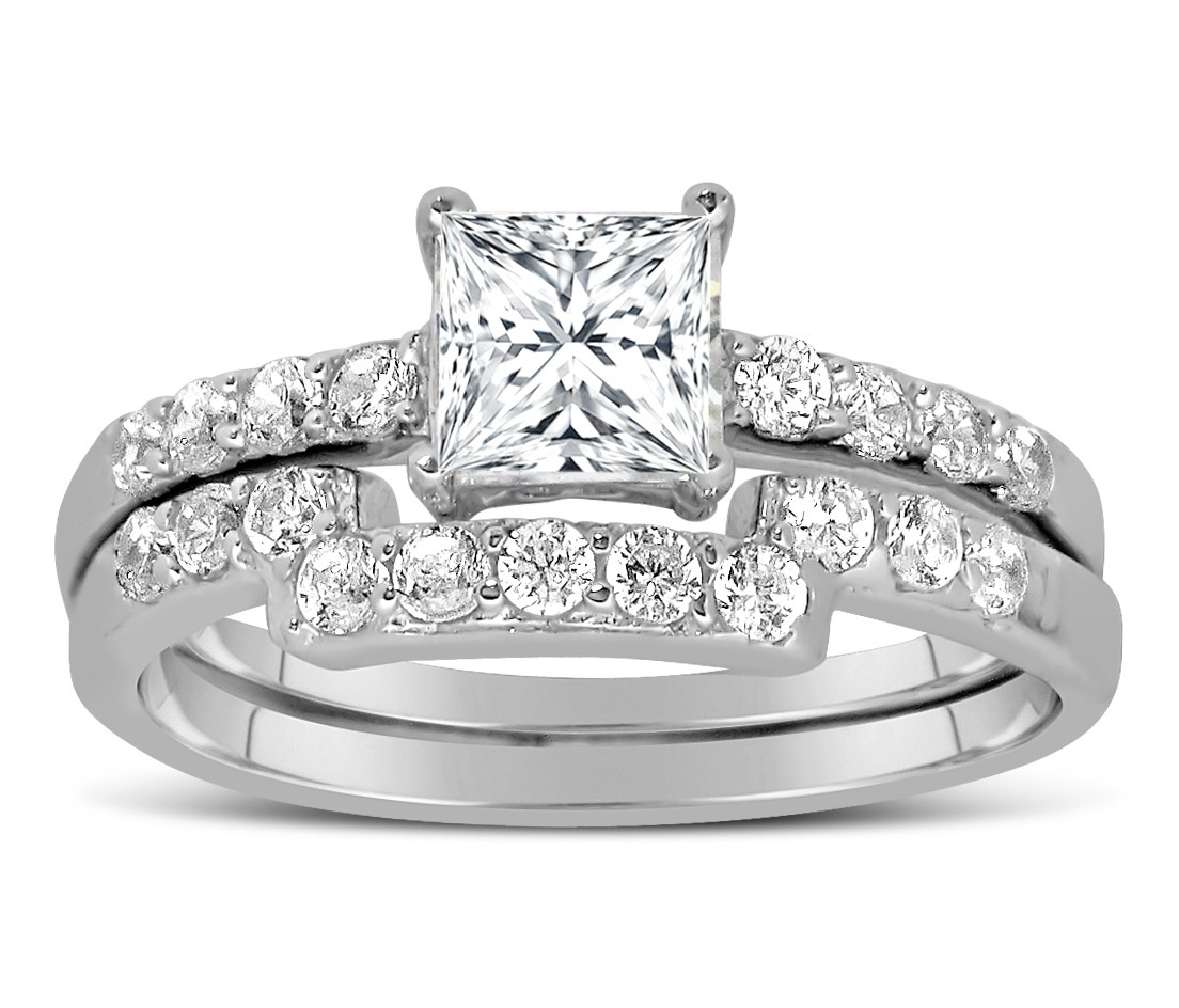 1 Carat Princess cut Diamond Wedding Ring Set in White Gold JeenJewels
