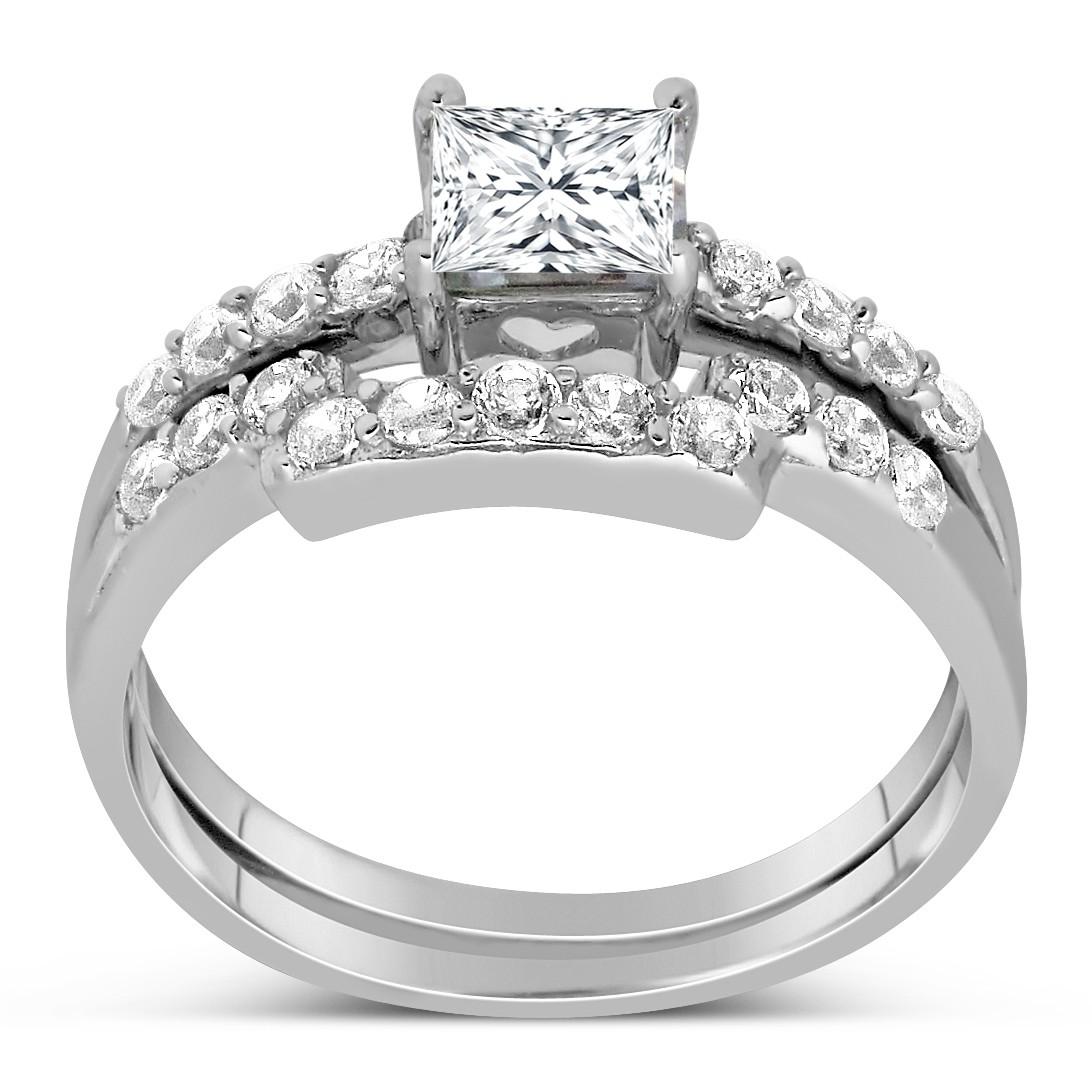 1 Carat Princess cut Diamond Wedding Ring Set in White Gold JeenJewels