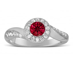 Antique Designer 1 Carat Red Ruby and Diamond Engagement Ring for Her in White Gold