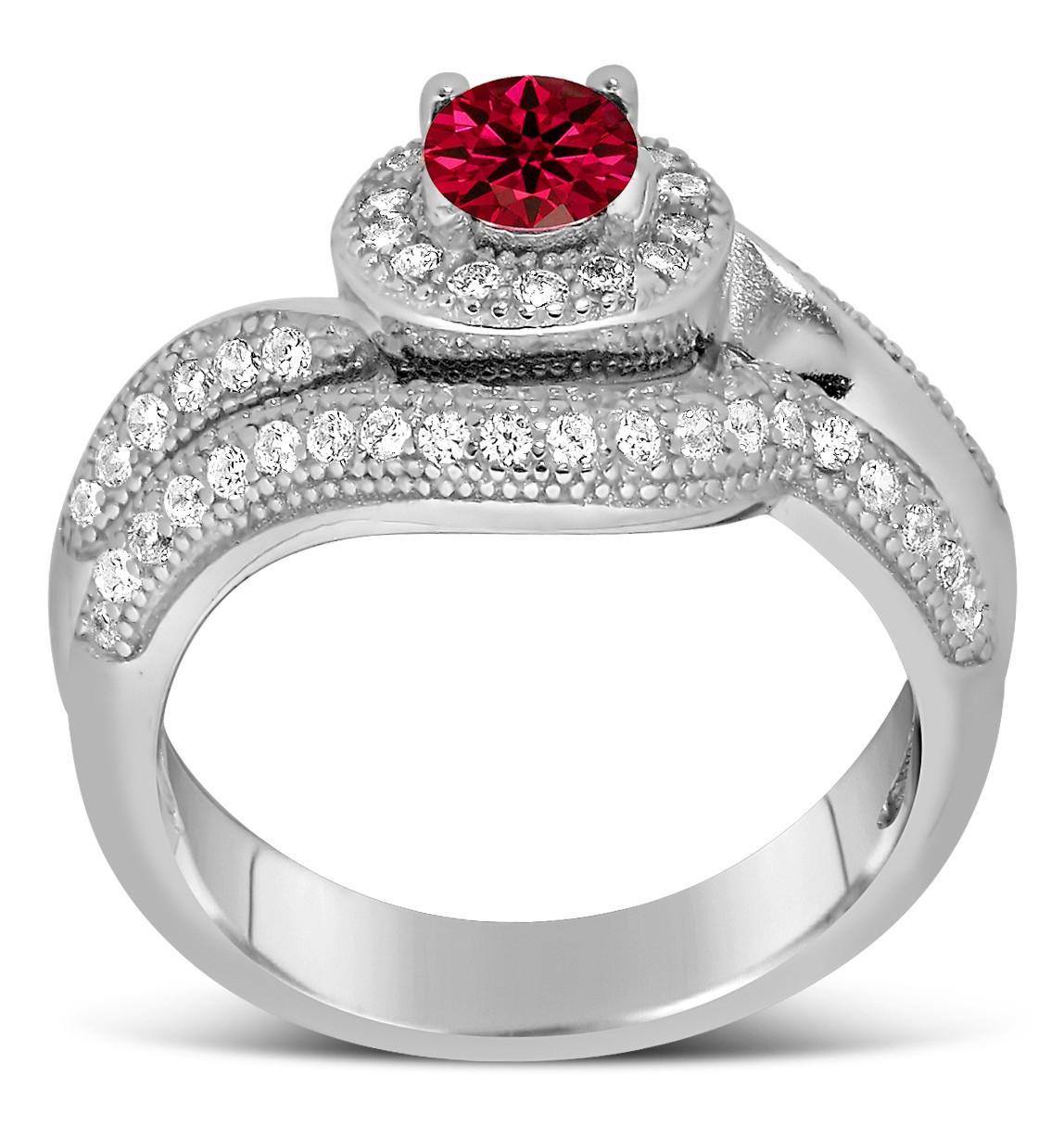 Antique Designer 2 Carat Red Ruby And Diamond Bridal Ring