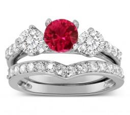 Luxurious 2 Carat Ruby and Diamond Wedding Ring Set in 10k White Gold
