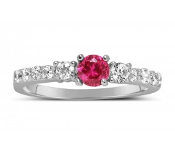 1 Carat Pink Sapphire and Diamond Wedding Ring Set in White Gold