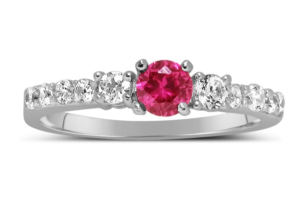 1 Carat Pink Sapphire and Diamond Wedding Ring Set in White Gold ...