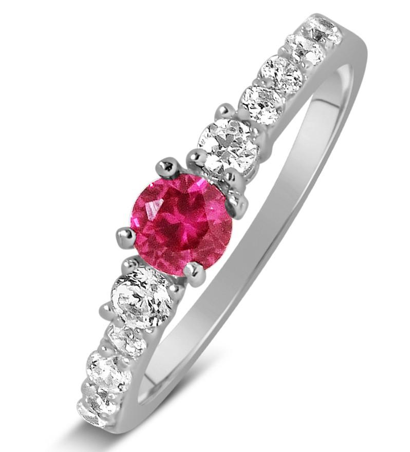 1 carat pink sapphire and diamond wedding ring set in white gold - Pink Wedding Ring Set