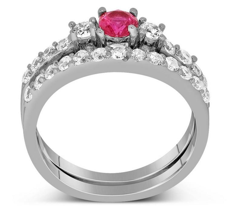 Sapphire Wedding Ring Sets Sapphire 1 Carat Pink Sapphire And Diamond Wedding Ring Set In White