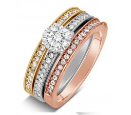 2 Carat Round cut Tri Color White, Rose and Yellow Gold Trio Wedding Ring Set