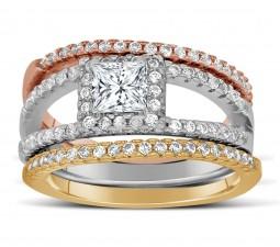 2 carat princess cut tri color white rose and yellow gold trio wedding ring set - Trio Wedding Ring Sets