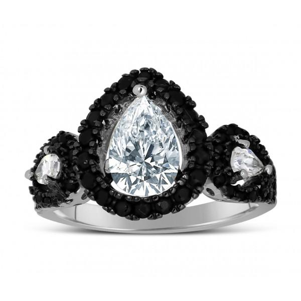 1 carat unique black and white pear shape halo engagement