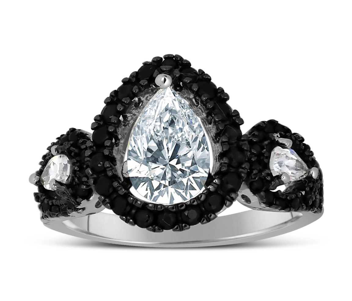 1 Carat Unique Black And White Pear Shape Halo Engagement Ring In White Gold