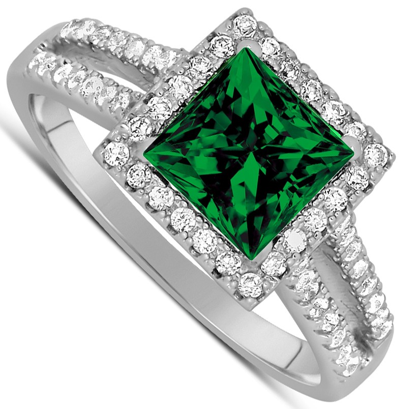 ... princess cut Green Emerald and Diamond Engagement Ring in White Gold