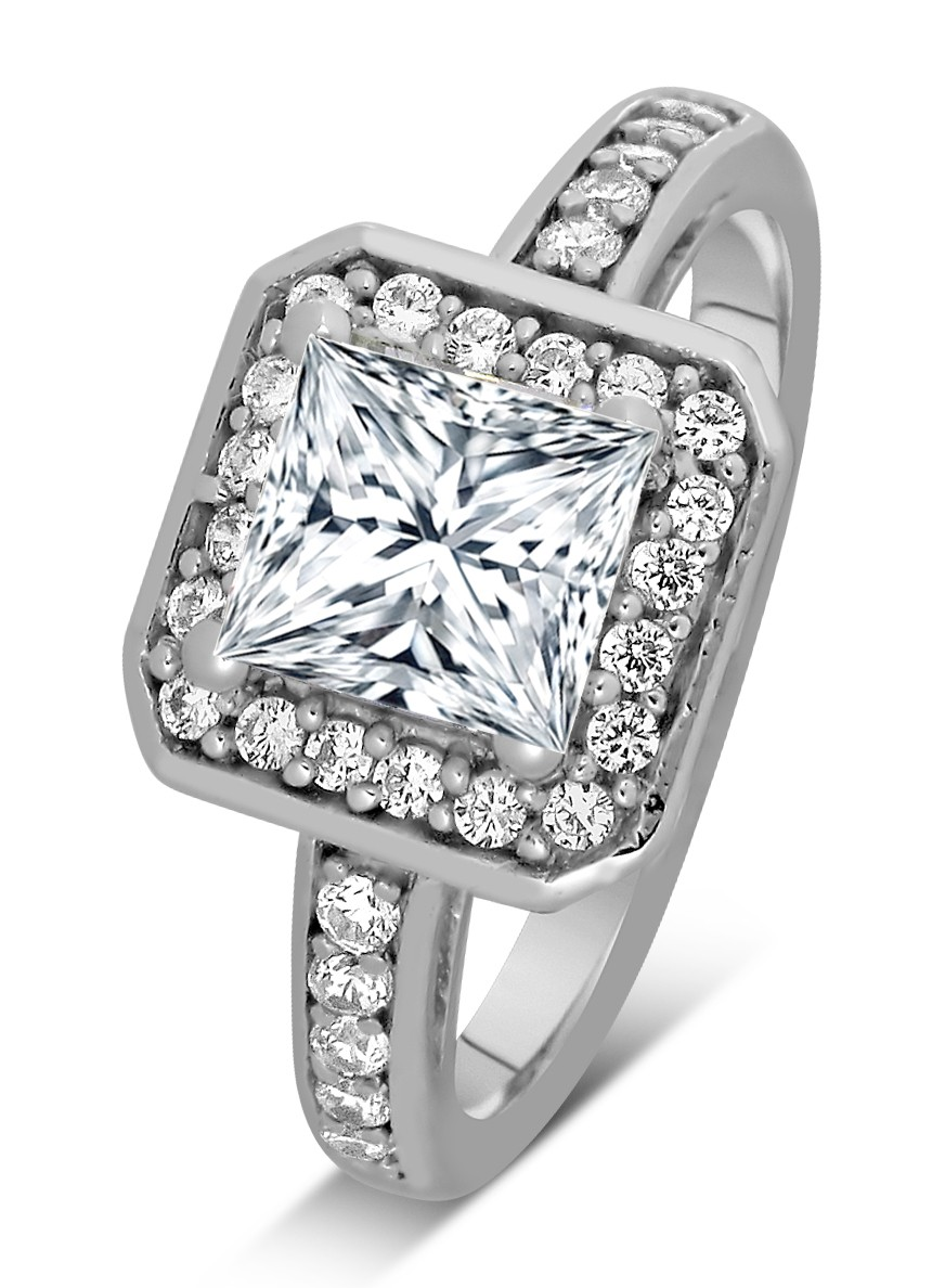 1 Carat Princess cut Diamond Halo Engagement Ring 10K ...