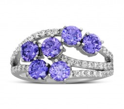 Unique 2 Carat Amethyst and Diamond Ring for Women