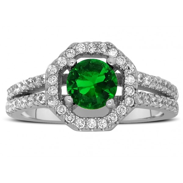 Luxurious 2 Carat Emerald And Diamond Halo Engagement Ring In 10K White Gold