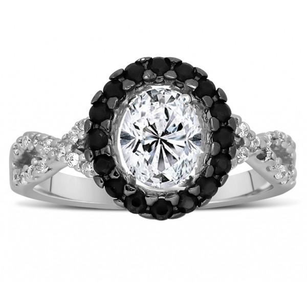 unique 1 carat black and white oval diamond halo