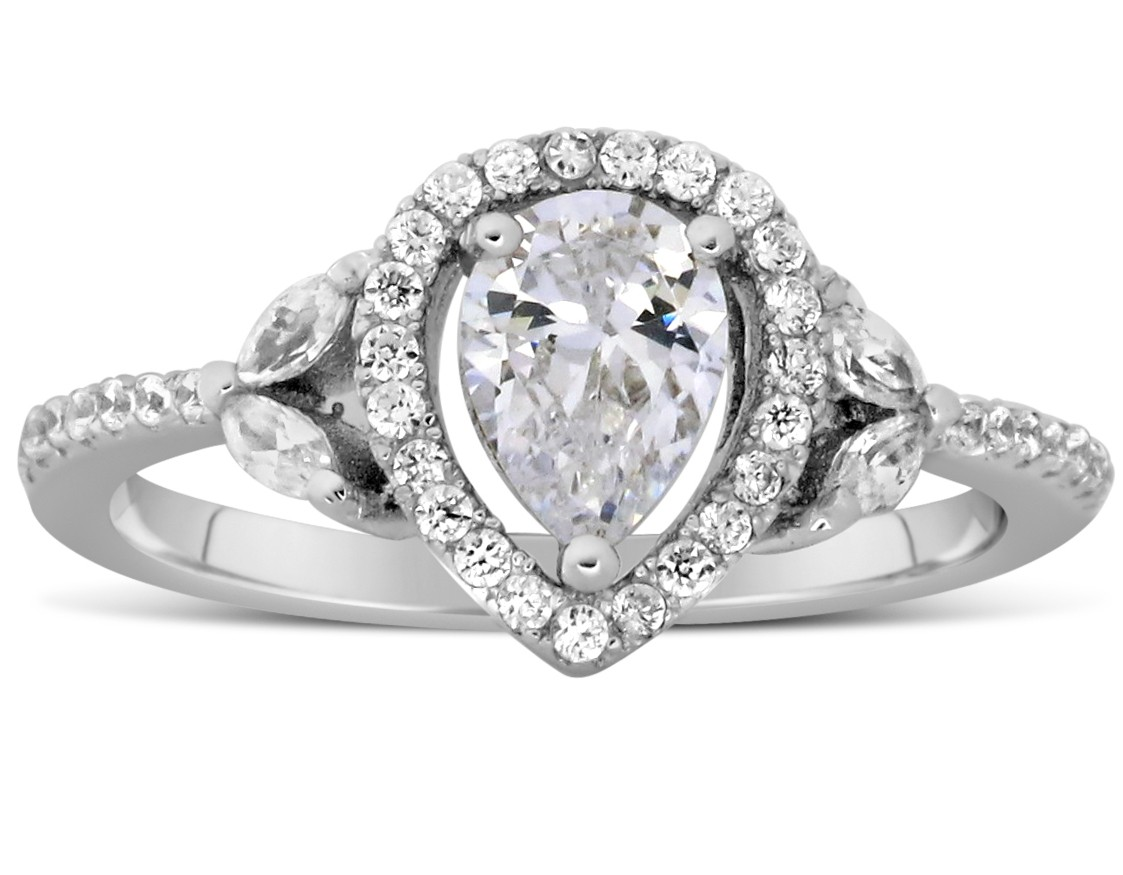 1 carat unique pear and marquise diamond engagement ring in white