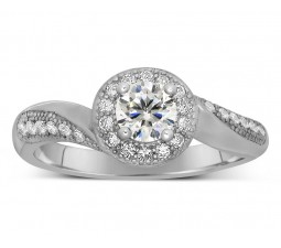 Antique Designer 1 Carat Round Diamond Engagement Ring for Her in White Gold