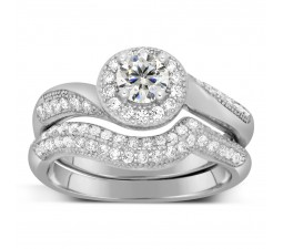 Antique Designer 2 Carat Round Diamond Bridal Ring Set for Her in White Gold