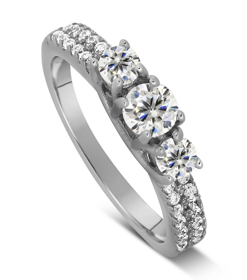 1 Carat Trilogy Design Three Stone Round Engagement Ring