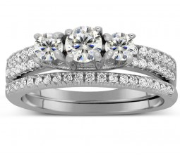 2 Carat Trilogy Design Three Stone Round Wedding Ring Set in White Gold