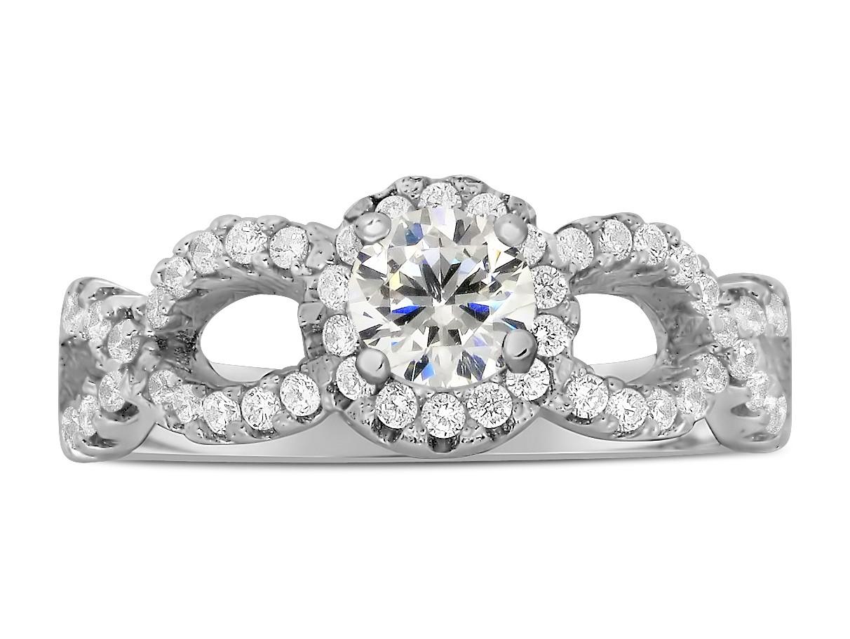 1 carat round infinity wedding ring set in white gold - Infinity Wedding Ring Set