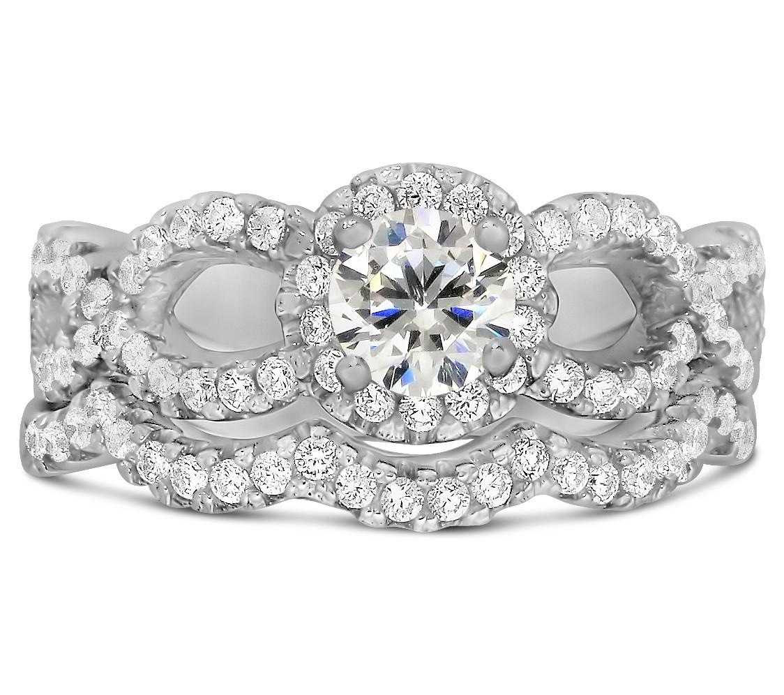 2 carat round infinity wedding ring set in white gold - Infinity Wedding Ring Set