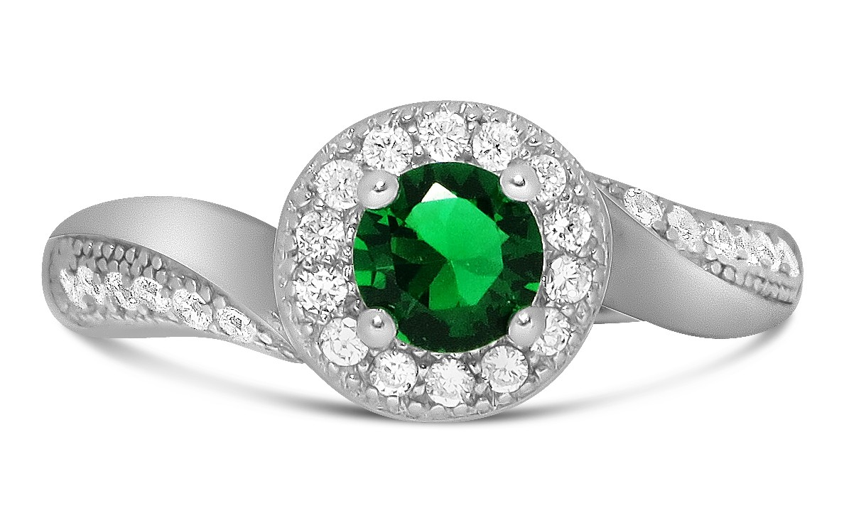Antique Designer 1 Carat Emerald And Diamond Engagement Ring For Her In White Gold