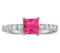 1.25 Carat Pink Sapphire and Diamond Wedding Ring Set in White Gold