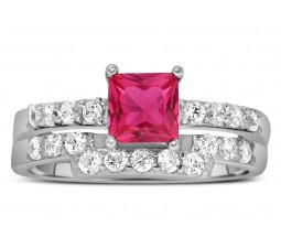 2 Carat Pink Sapphire and Diamond Wedding Ring Set in White Gold