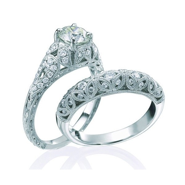 1 Carat Vintage Round Diamond Wedding Ring Set For Her In White Gold