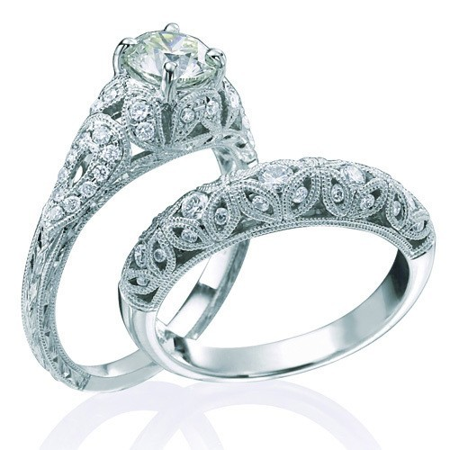 vintage round cut diamond wedding ring set for her onjeenjewels - Simple Wedding Rings For Her