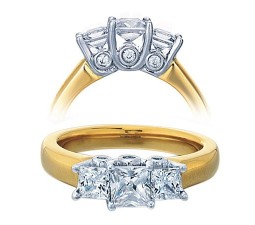 3/4 Carat Three Stone Princess Diamond Trilogy Engagement Ring for Her in yellow Gold