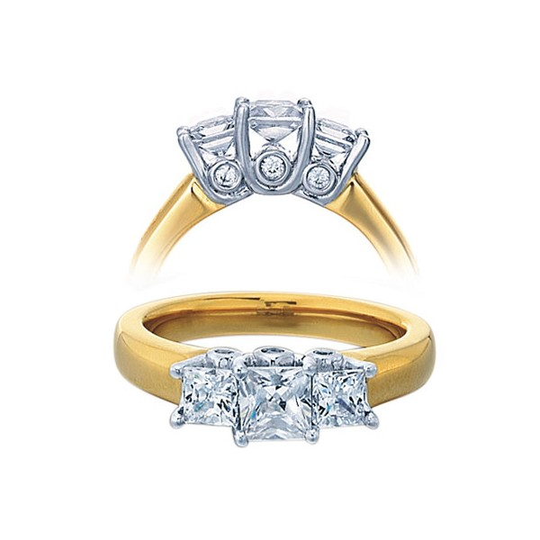 3 4 Carat Three Stone Princess Diamond Trilogy Engagement Ring for Her in yel