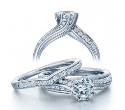 1 Carat Round Diamond Wedding Ring Set in White Gold