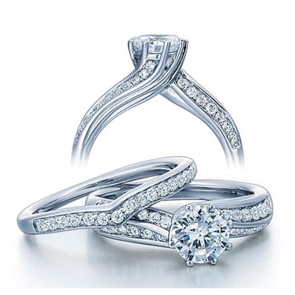 1 Carat Round Diamond Wedding Ring Set in White Gold