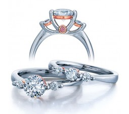 Half Carat Round Three Stone Wedding Ring Set for Her in White Gold