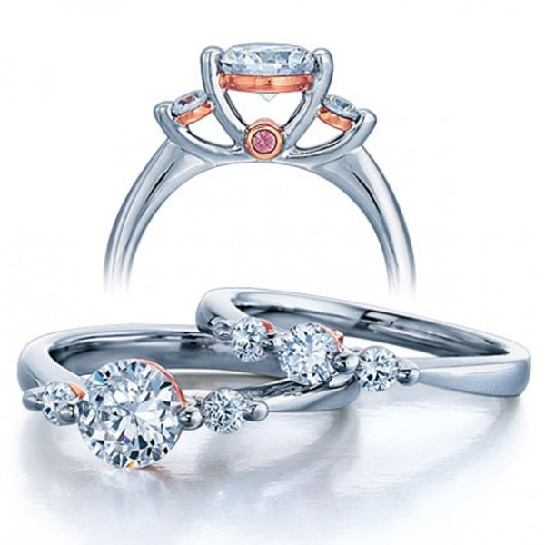 Three stone wedding ring set for her jeenjewels for Three stone wedding ring set