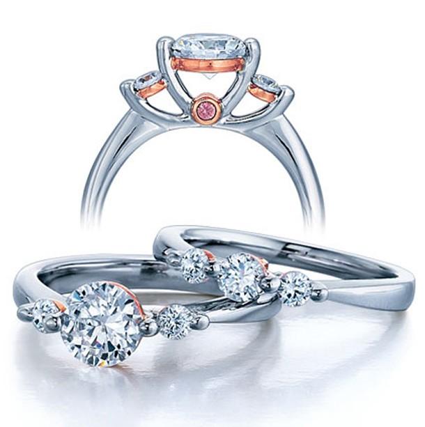 Three Stone Wedding Ring Set for Her JeenJewels